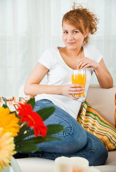 Beauty, Young Girl With A Glass Of Orange Juice Stock Photography