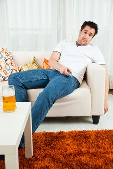Handsome Young Boy Watching Television Royalty Free Stock Photo