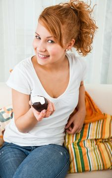 Young, Beauty Girl Eating Chocolate Cake Royalty Free Stock Image