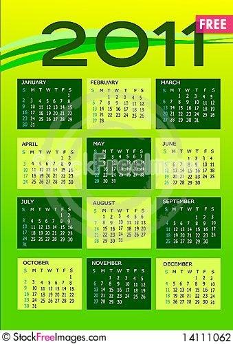 Free Calendar 2011 Stock Photography - 14111062