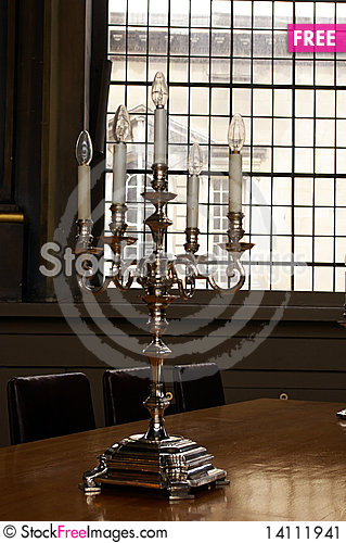 Free Ancient Silver Candlestick. Stock Image - 14111941