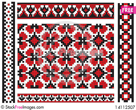 Free Pattern Ukrainian Embroidery Texture Royalty Free Stock Photography - 14112507