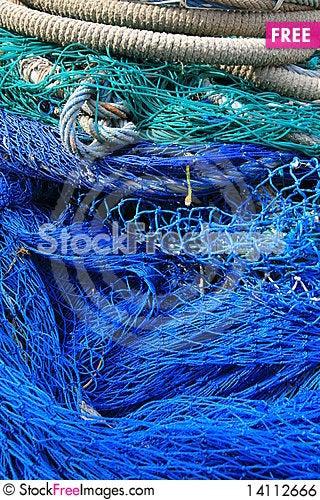 Free Blue Fishing Tools, Fish Net Background Royalty Free Stock Image - 14112666