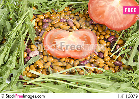Free Tomatoes Beans And Arugula Royalty Free Stock Images - 14113079