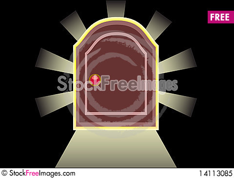 Free Door On A Black Background Royalty Free Stock Photo - 14113085