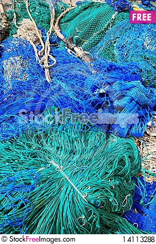 Free Blue Fish Net Background Royalty Free Stock Photos - 14113288