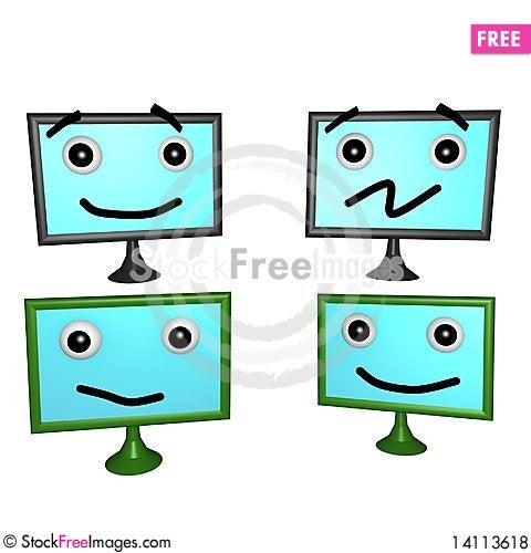 Free Flatscreen Faces 3d Royalty Free Stock Photos - 14113618