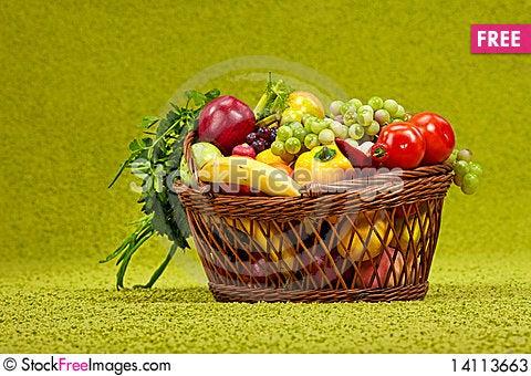 Free Basket Full Of Fresh Produce. Stock Photos - 14113663