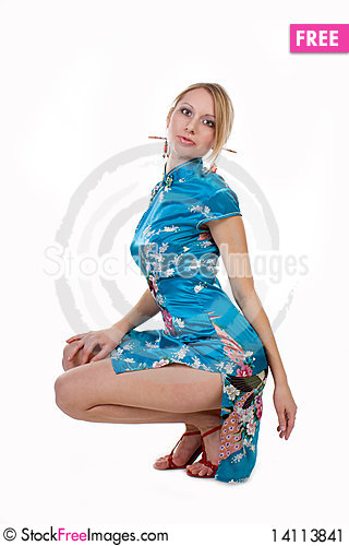 Free Beautiful Blonde In A Chinese Dress Stock Image - 14113841