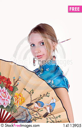 Free Beautiful Blonde In A Chinese Dress Royalty Free Stock Photo - 14113905
