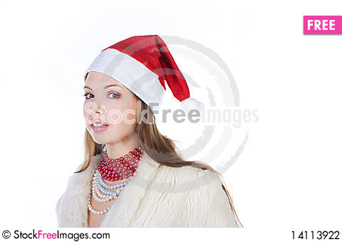 Free Young Beautiful Girl In Santa Claus Hat Stock Photography - 14113922