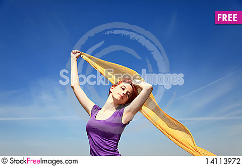 Free Girl With Silk At Outdoor. Stock Photography - 14113972
