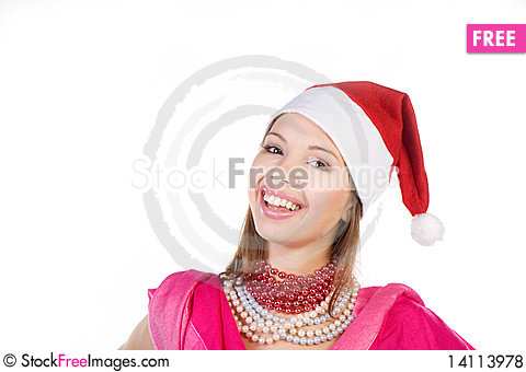 Free The Beautiful Girl Smiles In A New Year S Cap Royalty Free Stock Photos - 14113978