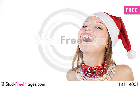 Free Beautiful And Sexy Mrs. Santa Isolated On White Stock Image - 14114001