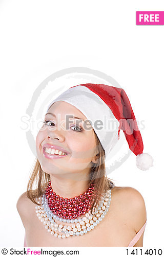 Free Young Beautiful Girl In Santa Claus Hat Stock Photo - 14114010