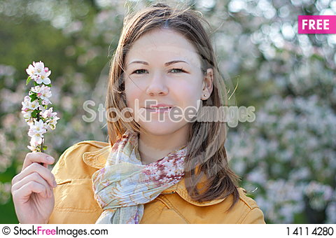 Free Young Woman In Blooming Park Stock Photo - 14114280