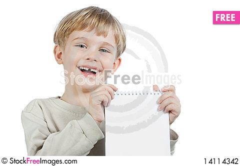 Free Little Boy With A Notebook Stock Photography - 14114342