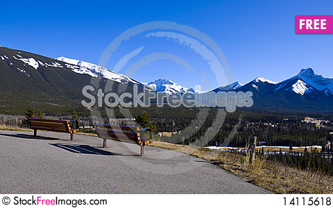 Free Two Park Benches Royalty Free Stock Photos - 14115618