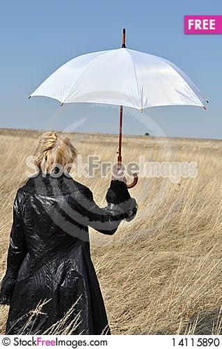 Free Series Of Enhancements, Women And White Umbrella Stock Photo - 14115890