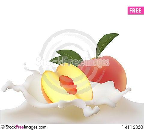 Free Peach Falling Into Splash Of Milk Stock Photo - 14116350