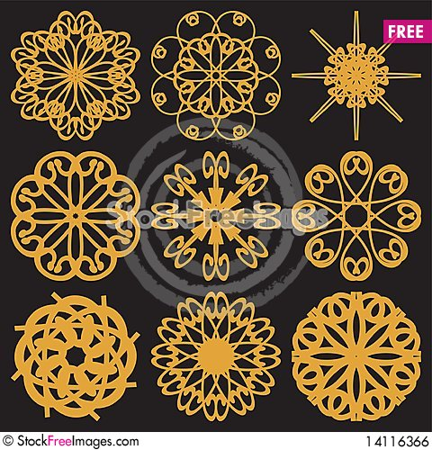 Free Set With Golden Flowers Royalty Free Stock Image - 14116366