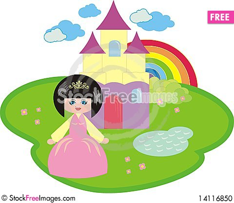 The little princess and the fantastic castle Cartoon Illustration