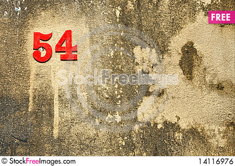 Free Fiftyfour Number Stick Crust Wall Royalty Free Stock Image - 14116976
