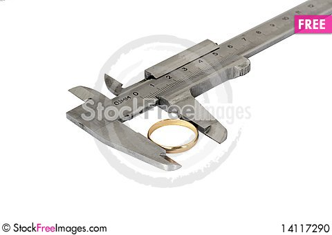 Free Caliper With Wedding Ring Stock Photo - 14117290