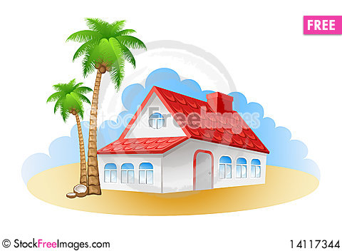 Free Cottage On A Beach Stock Images - 14117344