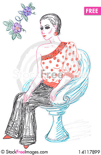 Free Woman And Fashionable Clothing, Sketch Royalty Free Stock Images - 14117899