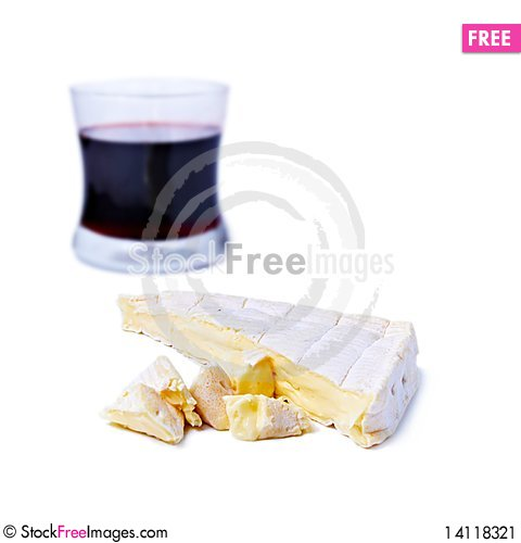 Free Brie Cheese And Glass Of Red Wine Stock Image - 14118321