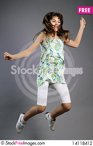 Free Pretty Teen Jumping Stock Photography - 14118412