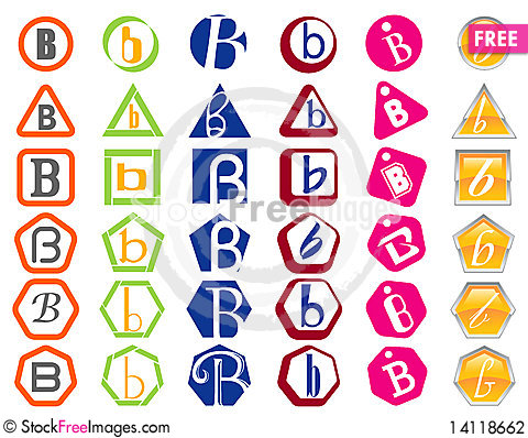 Letter B Icons Badges and Tags Stock Photo
