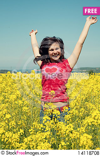 Free Happy Girl Jumping Royalty Free Stock Photos - 14118708