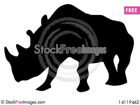Free Silhouette Of Rhinoceros Stock Photography - 14119462