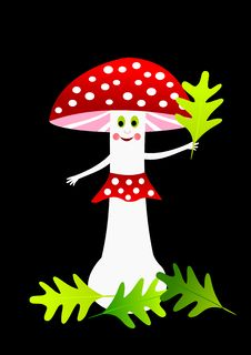 Free Cartoon Red Amanita Royalty Free Stock Photos - 14110668