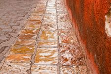 Stone Street In The Rain Stock Photo