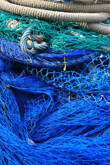 Blue Fishing Tools, Fish Net Background Royalty Free Stock Image