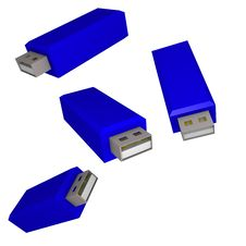 Usb Sticks Blue 3d Royalty Free Stock Photography