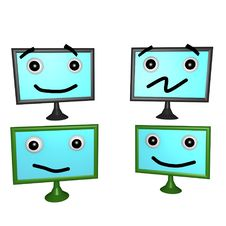 Flatscreen Faces 3d Royalty Free Stock Photos