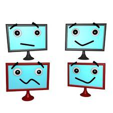 Flatscreen Faces 2 3d Stock Photo