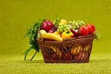Free Basket Full Of Fresh Produce. Stock Photos - 14113663
