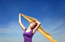 Girl With Silk At Outdoor. Stock Photography