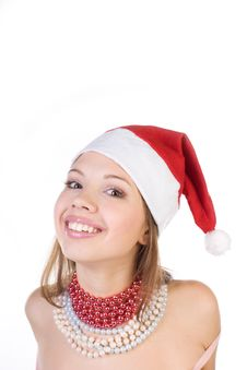 Young Beautiful Girl In Santa Claus Hat Stock Photo