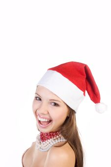 Beautiful Mrs. Santa Isolated On White Stock Photos