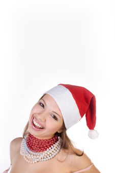Beautiful Girl In Santa Claus Hat Stock Photo