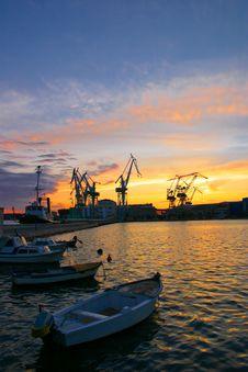 Harbor At Sunset Royalty Free Stock Photos