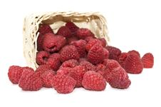 Free Raspberries In A Basket. Stock Image - 14114151