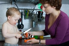 Free Mother And Son Cooking Stock Photos - 14114273