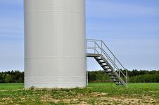 Entrance To Wind Turbine Stock Photo